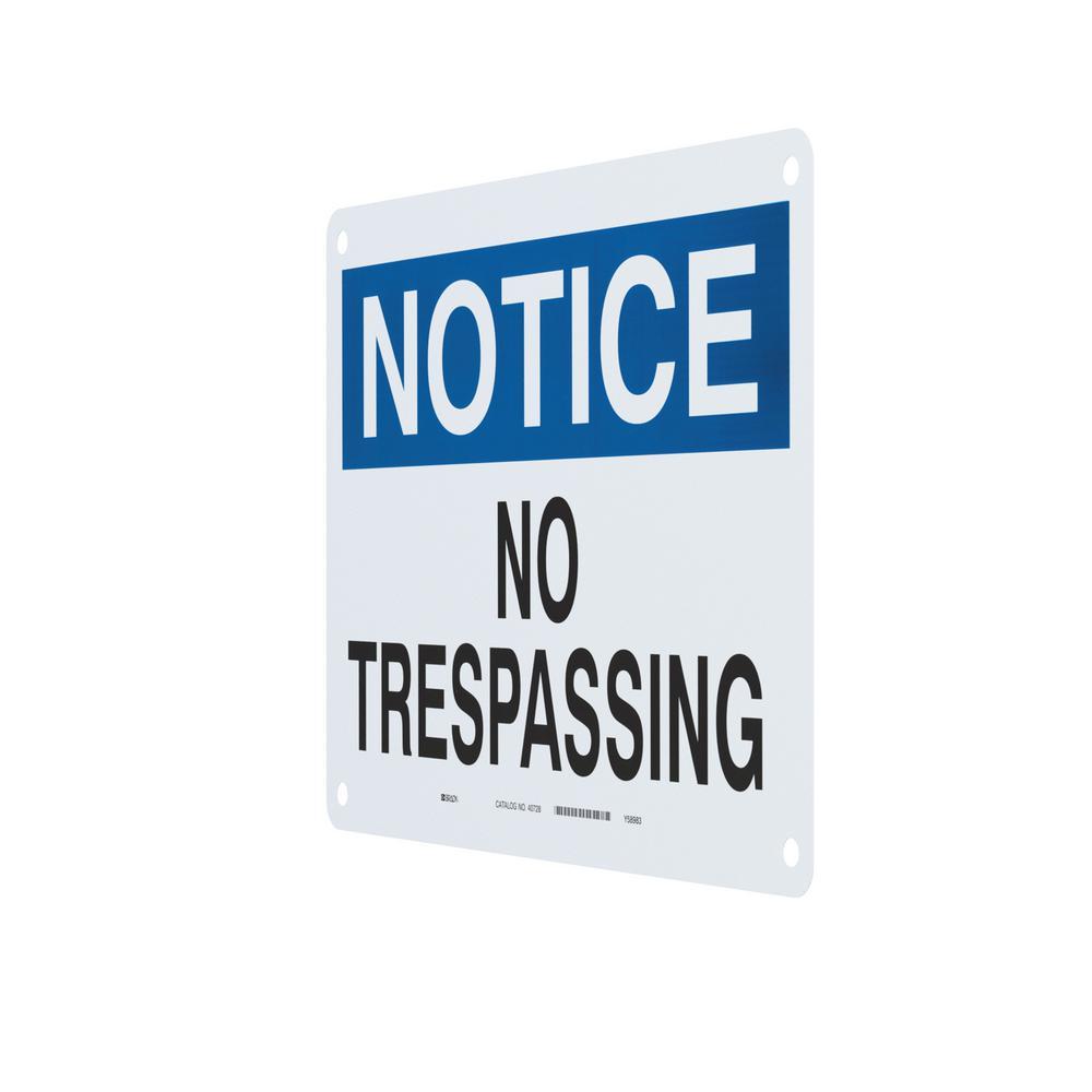 Brady 38617 Plastic 14 X 10 Warning//Advertencia Sign Legend No Trespassing//No Traspase