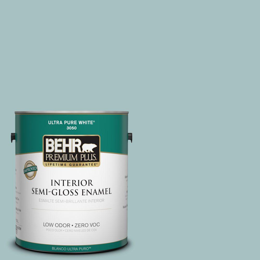 1-gal. #500F-4 Swan Sea Zero VOC Semi-Gloss Enamel Interior Paint