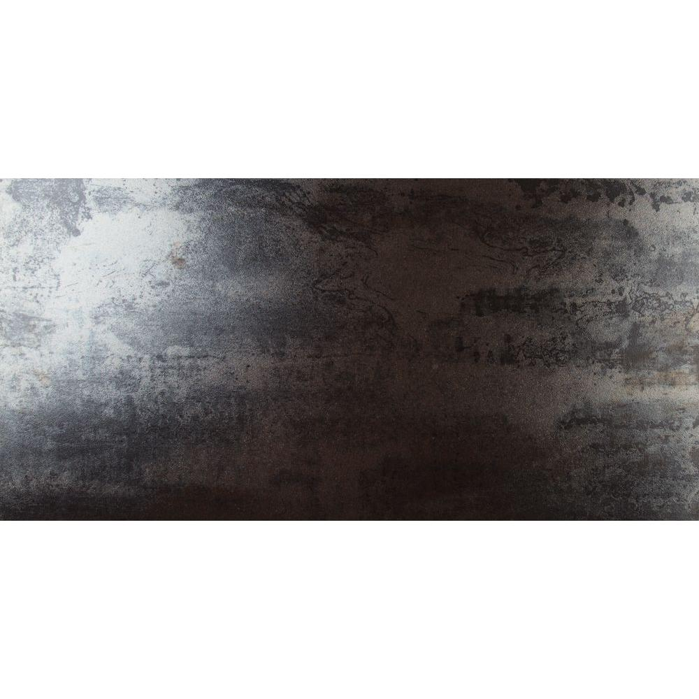 Metallica Black 12 in. x 24 in. Glazed Porcelain Floor and