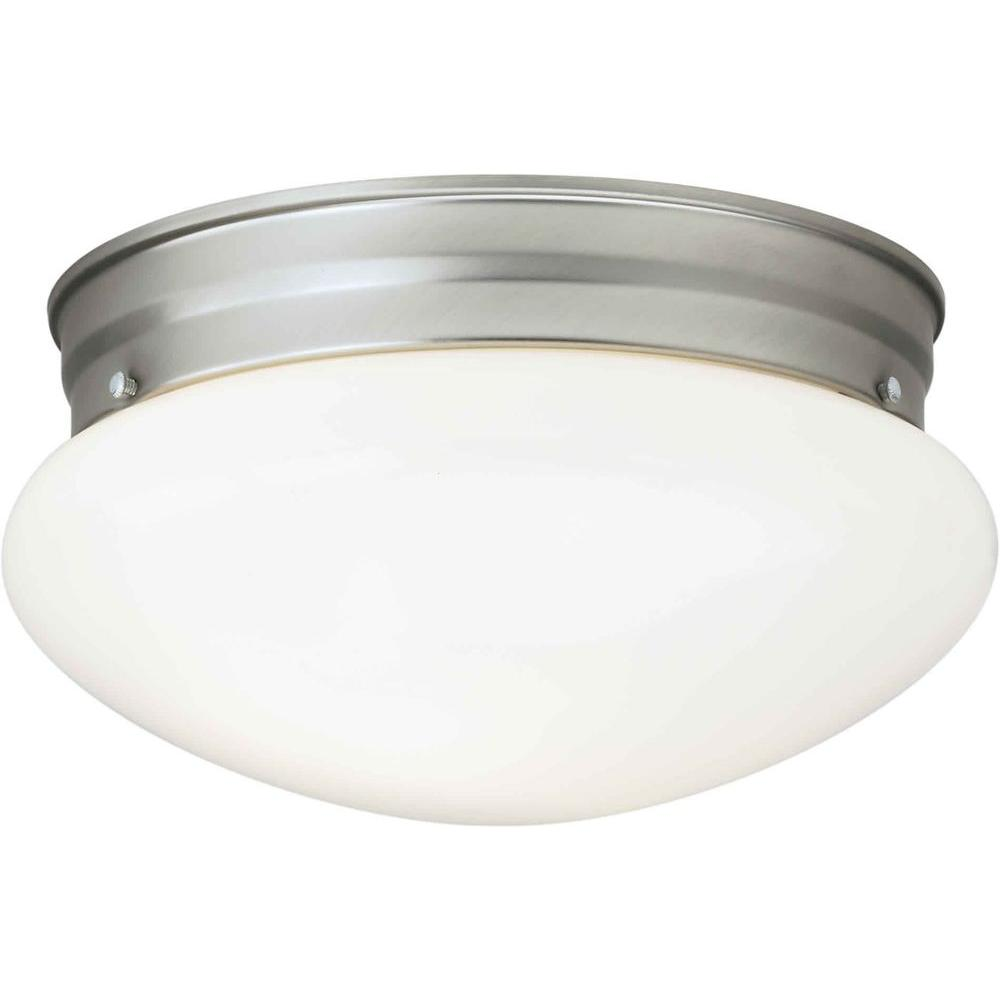 Oran 1-Light Brushed Nickel Flushmount with Opal Glass