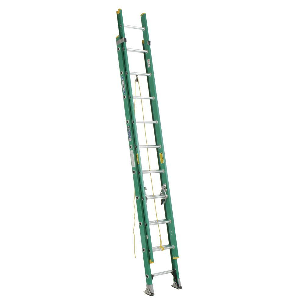 Werner 20 ft. Fiberglass D-Rung Extension Ladder with 225 lb. Load