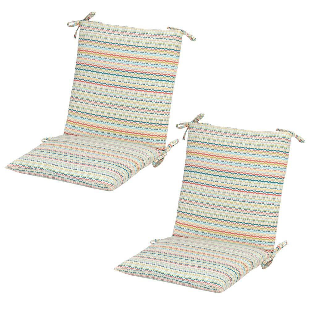 Hampton Bay Rigby Stripe Midback Outdoor Dining Chair Cushion