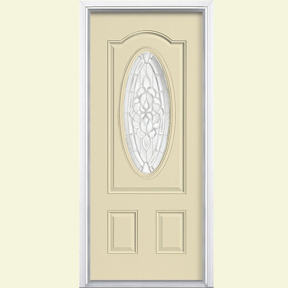 Masonite 36 in. x 80 in. Oakville 3/4 Oval Lite Painted