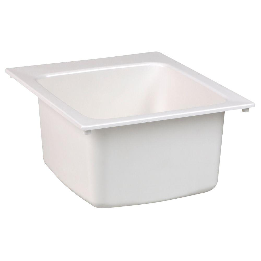 MUSTEE 17 in. x 20 in. Fiberglass Self-Rimming Utility Sink in White ...