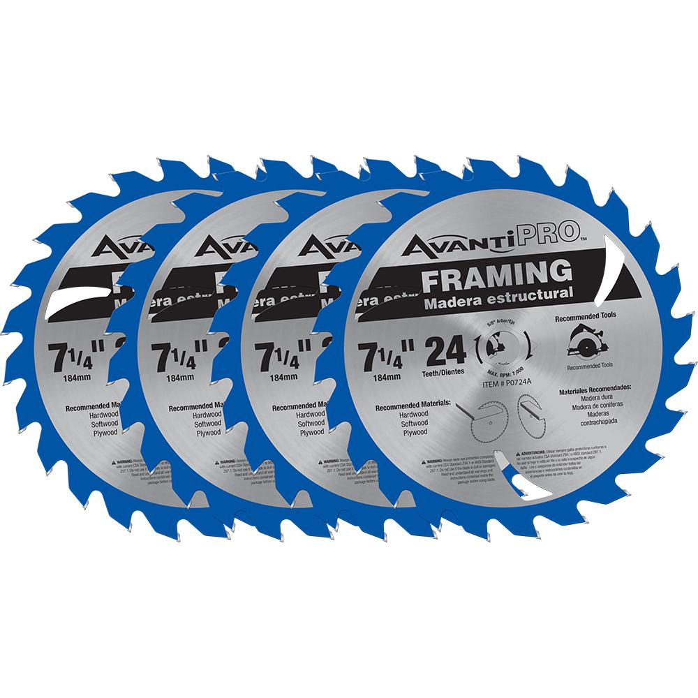 Avanti Pro 7-1/4 in. x 24-Tooth Framing Saw Blade (4-Pack)