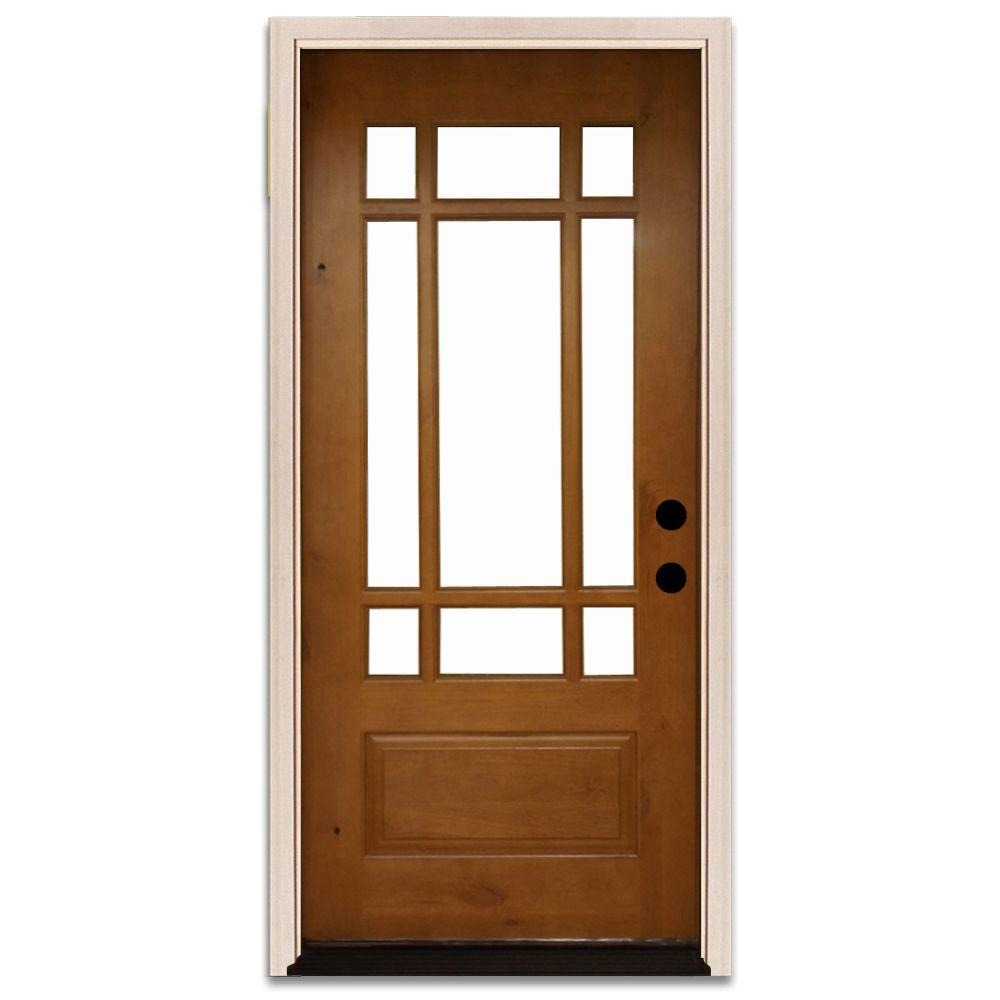Doors With Glass: Steves & Sons Doors 36 in. x 80 in. Craftsman 9 Lite Stained Knotty Alder Wood Prehung Front Door, Wheat-White A3109-6-AW-WJ-6ILH