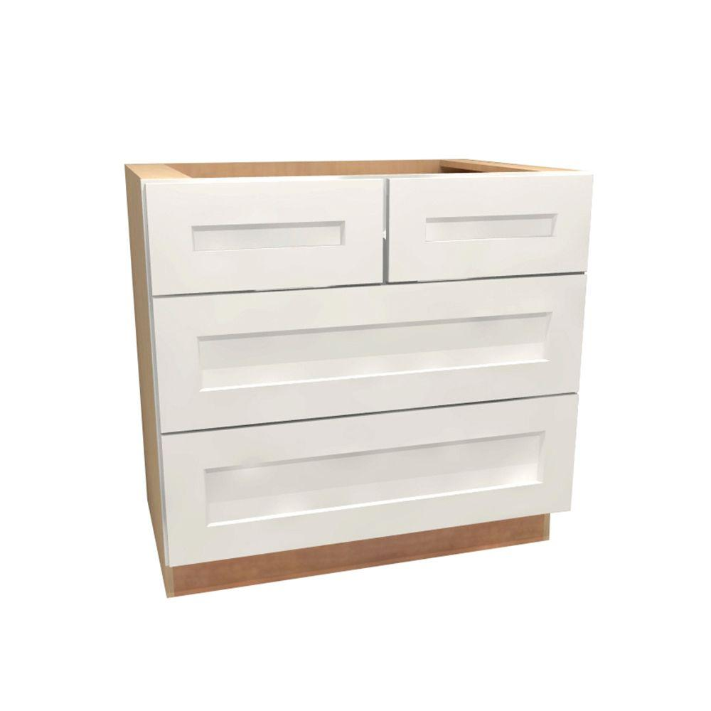 36x34.5x24 in. Newport Assembled Base Cabinet with 4 Drawers in Pacific