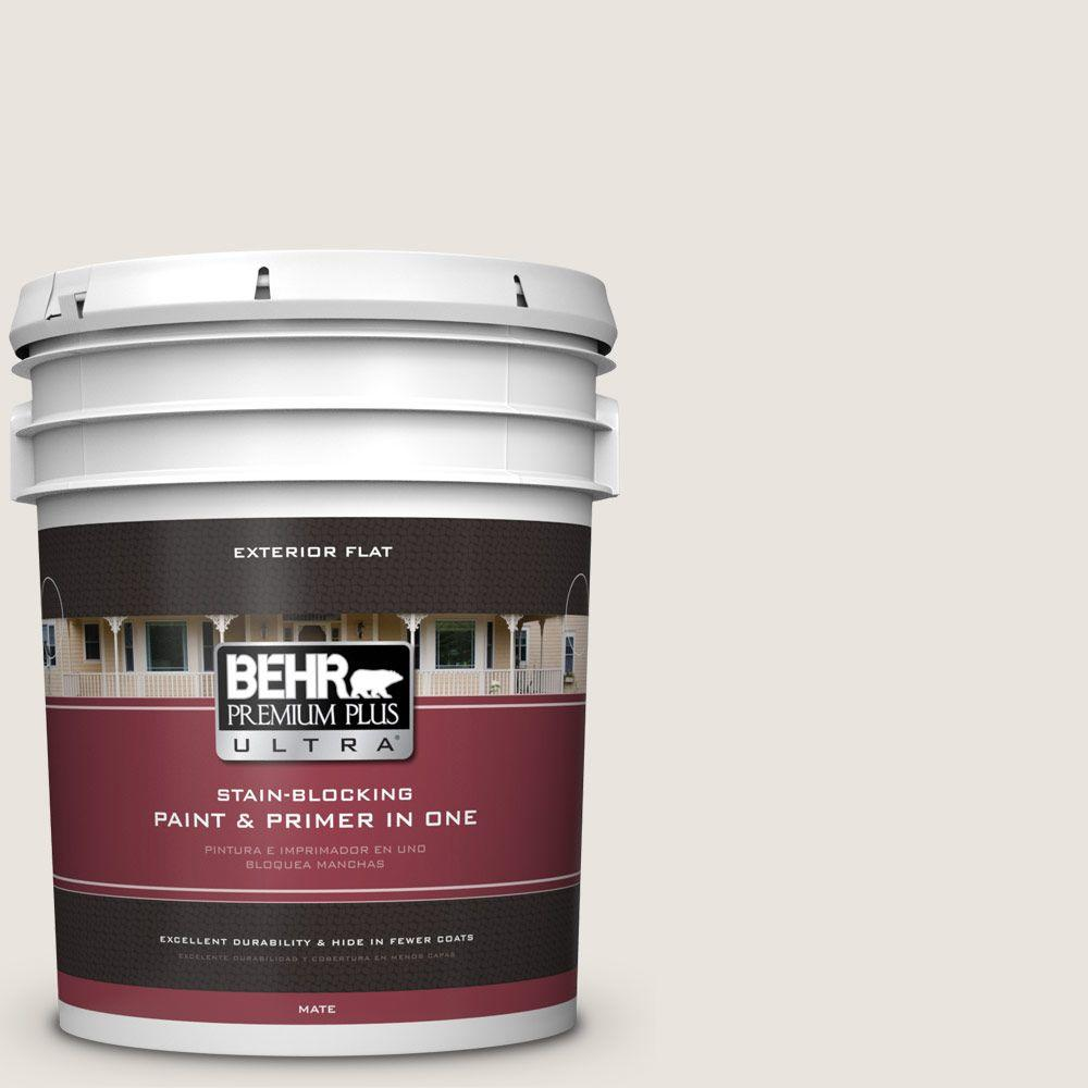 BEHR Premium Plus Ultra 5-gal. #BWC-13 Smoky White Flat Exterior Paint