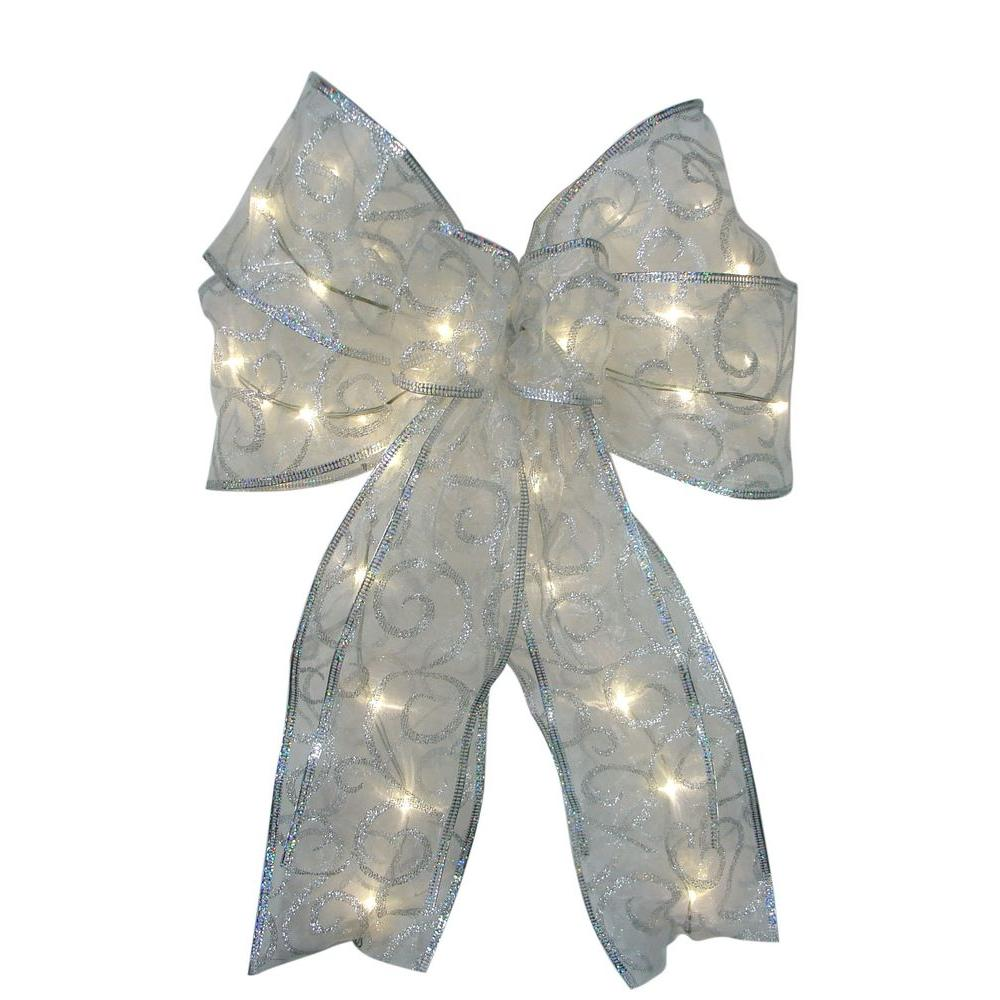 9 in. 36-Light Battery Operated LED White Everyday Bow