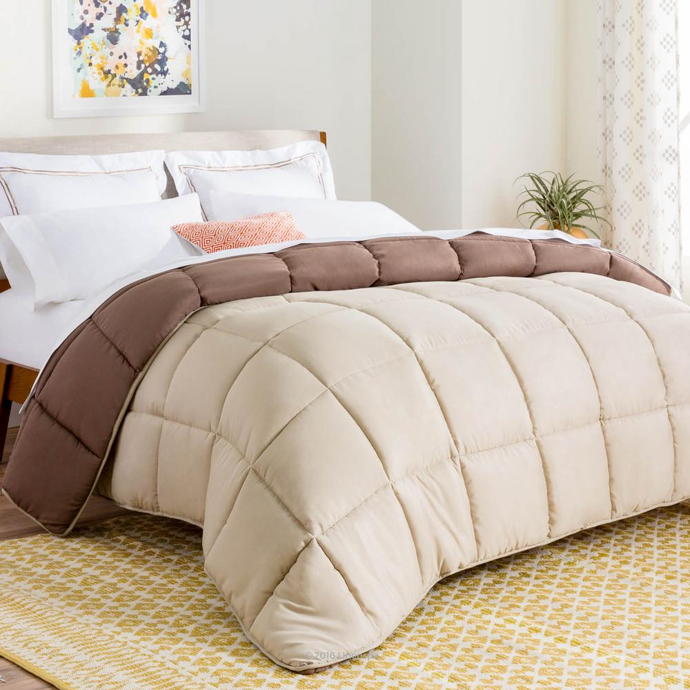 Reversible Sand/Mocha Down Alternative King Quilted Comforter