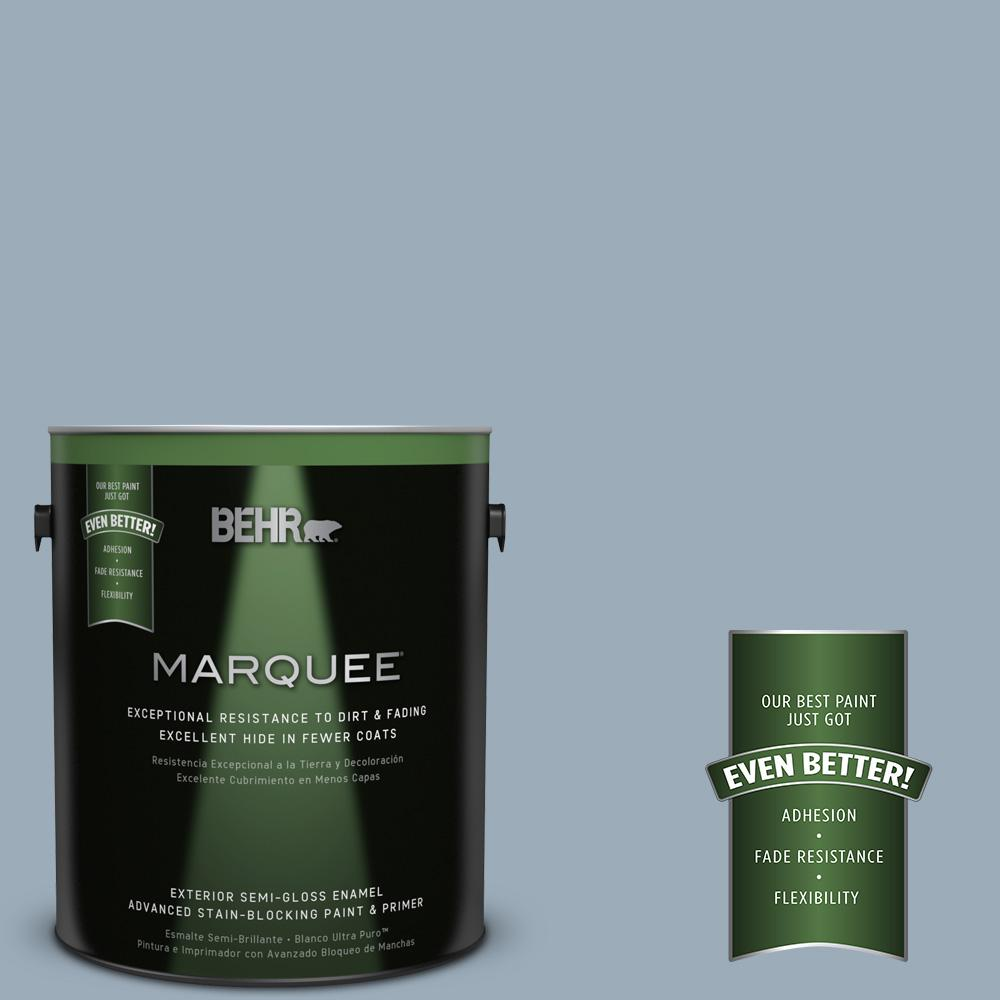 BEHR MARQUEE 1-gal. #570F-4 Blue Willow Semi-Gloss Enamel Exterior Paint
