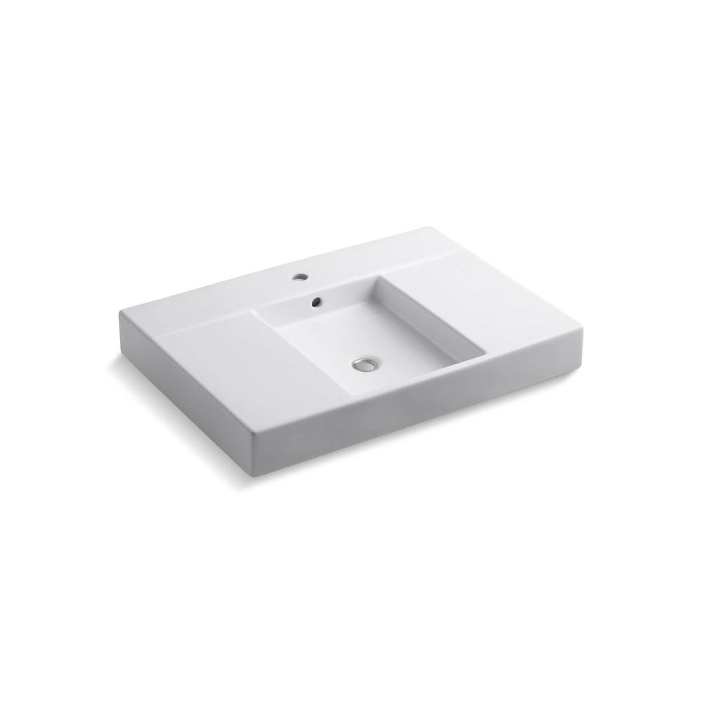 KOHLER Traverse 30-1/2 in. x 21-1/2 in. 19 in. Vanity Top with Sink Tabletop, Basin and Single Faucet Hole in White