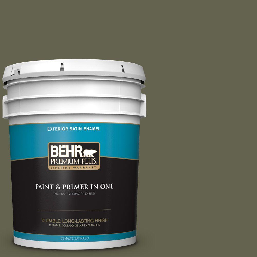 5-gal. #N350-7 Russian Olive Satin Enamel Exterior Paint