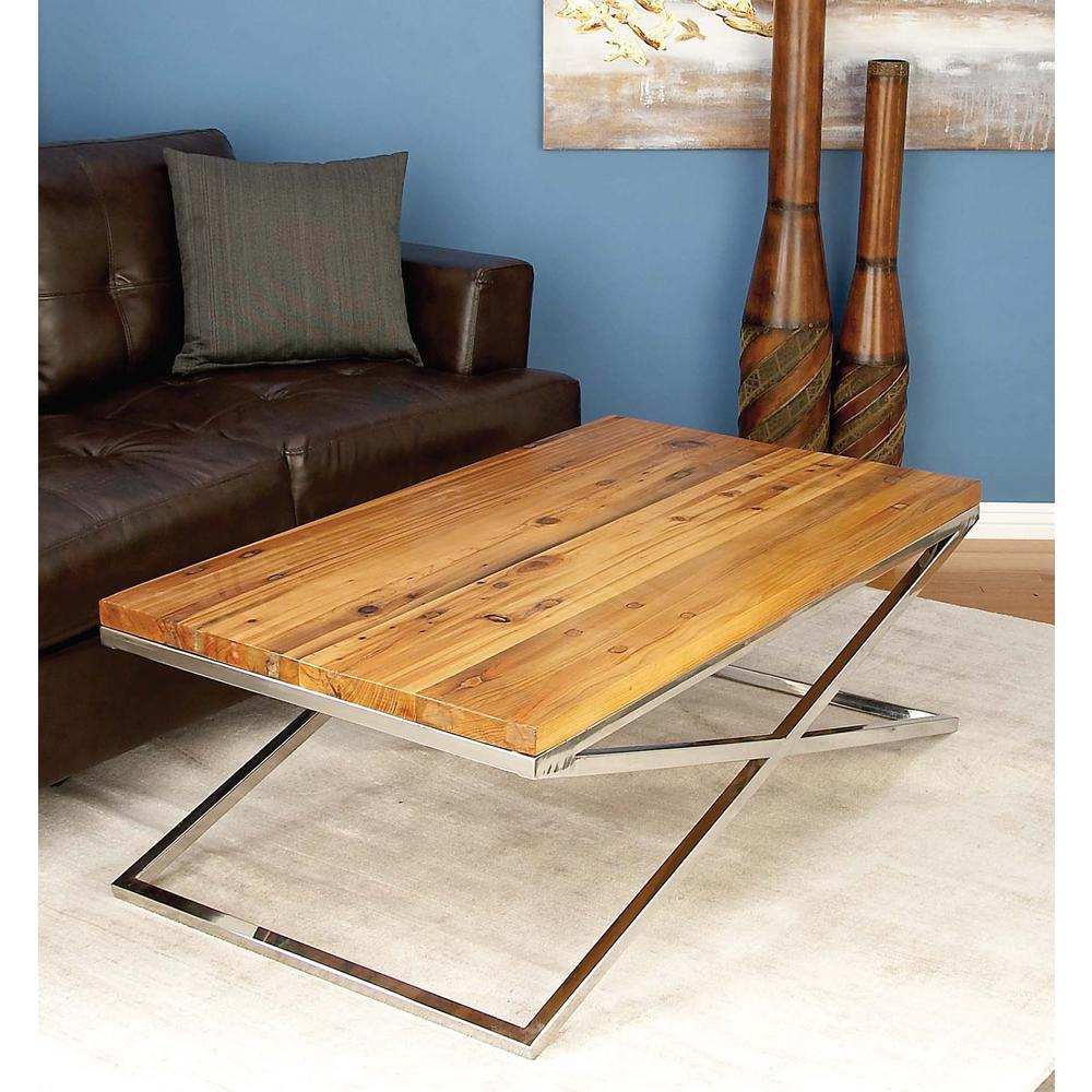 Stainless Steel And Wood Coffee Table: AMERICAN HOME Rustic Wood And Stainless Steel Coffee Table