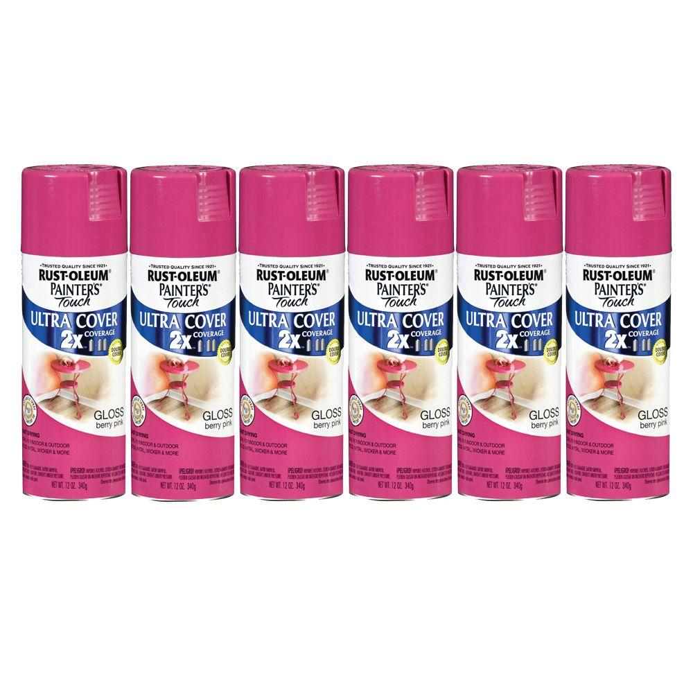 Painter's Touch 12 oz. Gloss Berry Pink Spray Paint (6-Pack)-DISCONTINUED