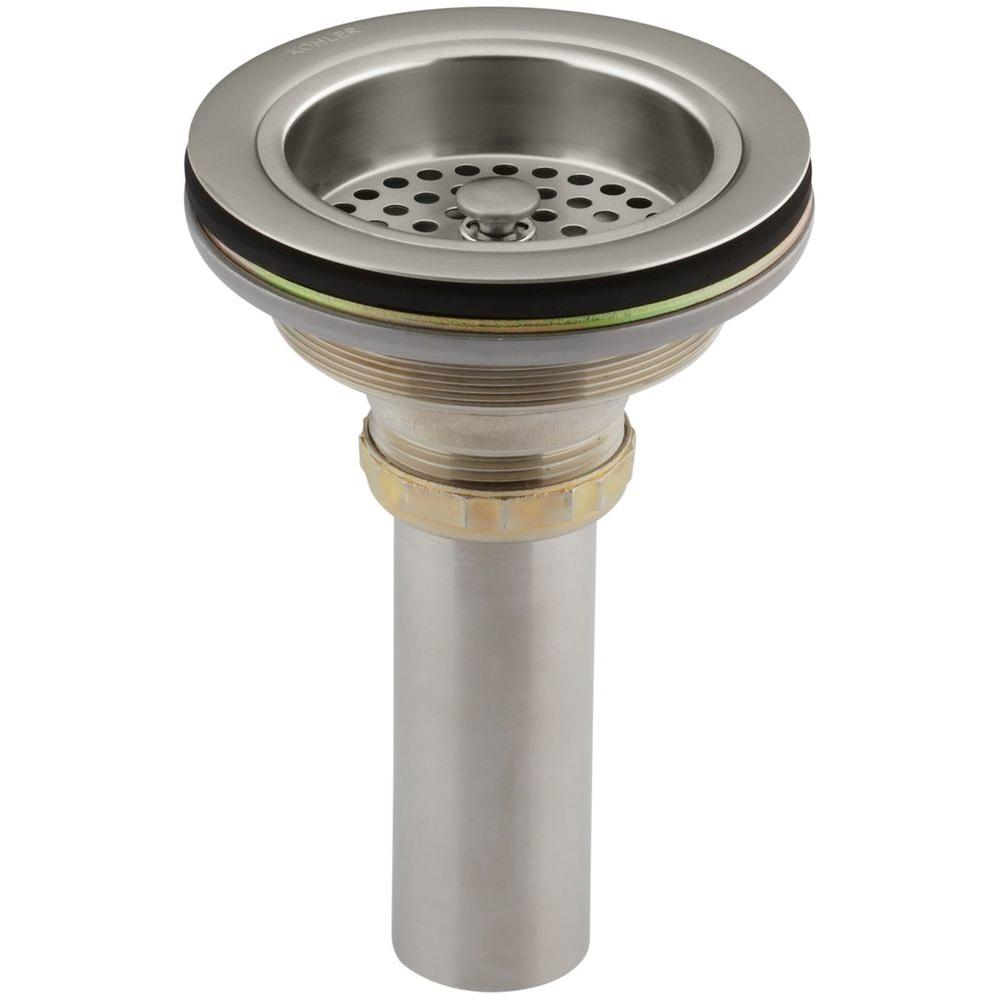 null Duostrainer 4-1/2 in. Sink Strainer with Tailpiece in Vibrant Brushed Nickel