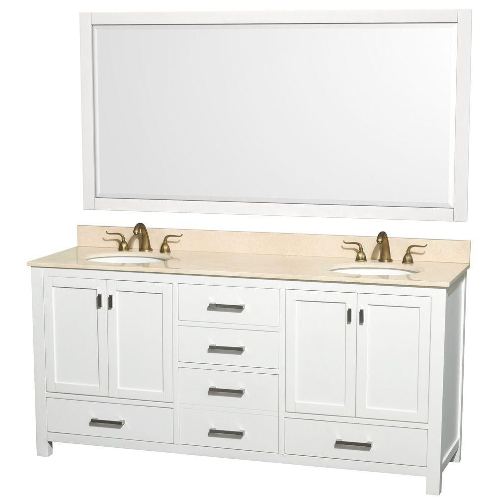 Wyndham Collection Abingdon 73 in. Double Vanity in White with Marble Vanity Top in Ivory and Mirror-DISCONTINUED