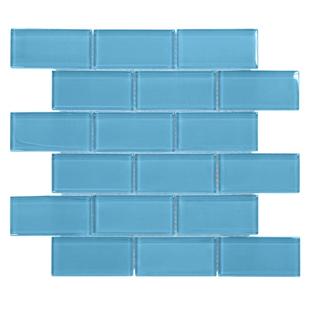 Jeffrey Court Brick in Blues 12 in. x 12 in. x