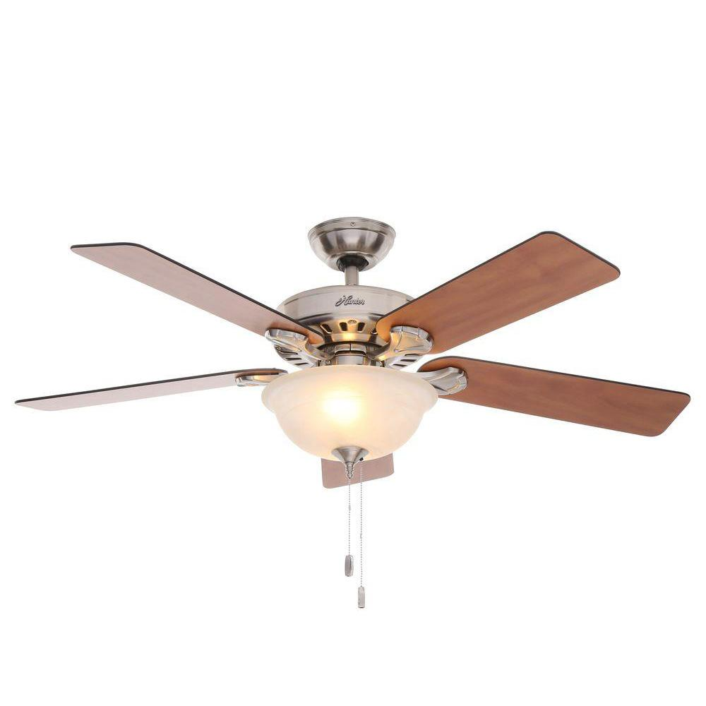 Hunter Pro's Best Five Minute 52 in. Indoor Brushed Nickel Ceiling Fan with Light Kit