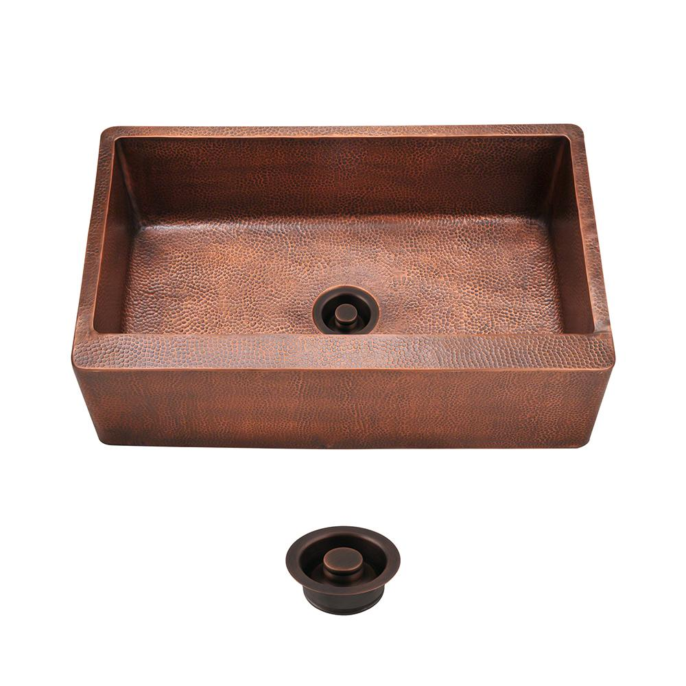 All-in-One Farmhouse Apron Front Copper 33 in. Single Bowl Kitchen Sink
