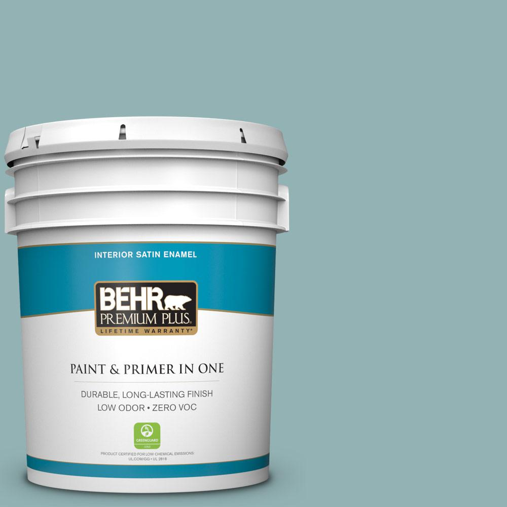5-gal. #500F-5 Gulf Winds Zero VOC Satin Enamel Interior Paint