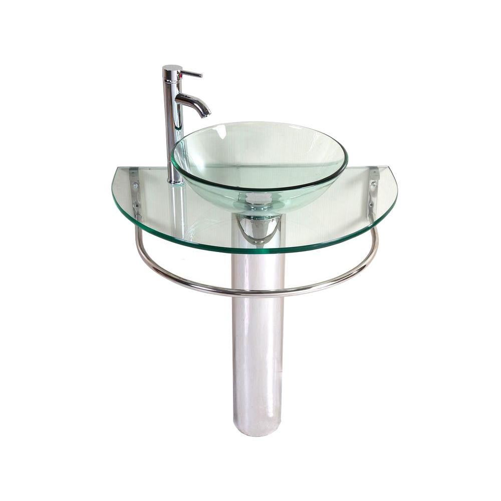 Kokols Kailash Pedestal Combo Bathroom Sink in Clear-WF-01 - The Home