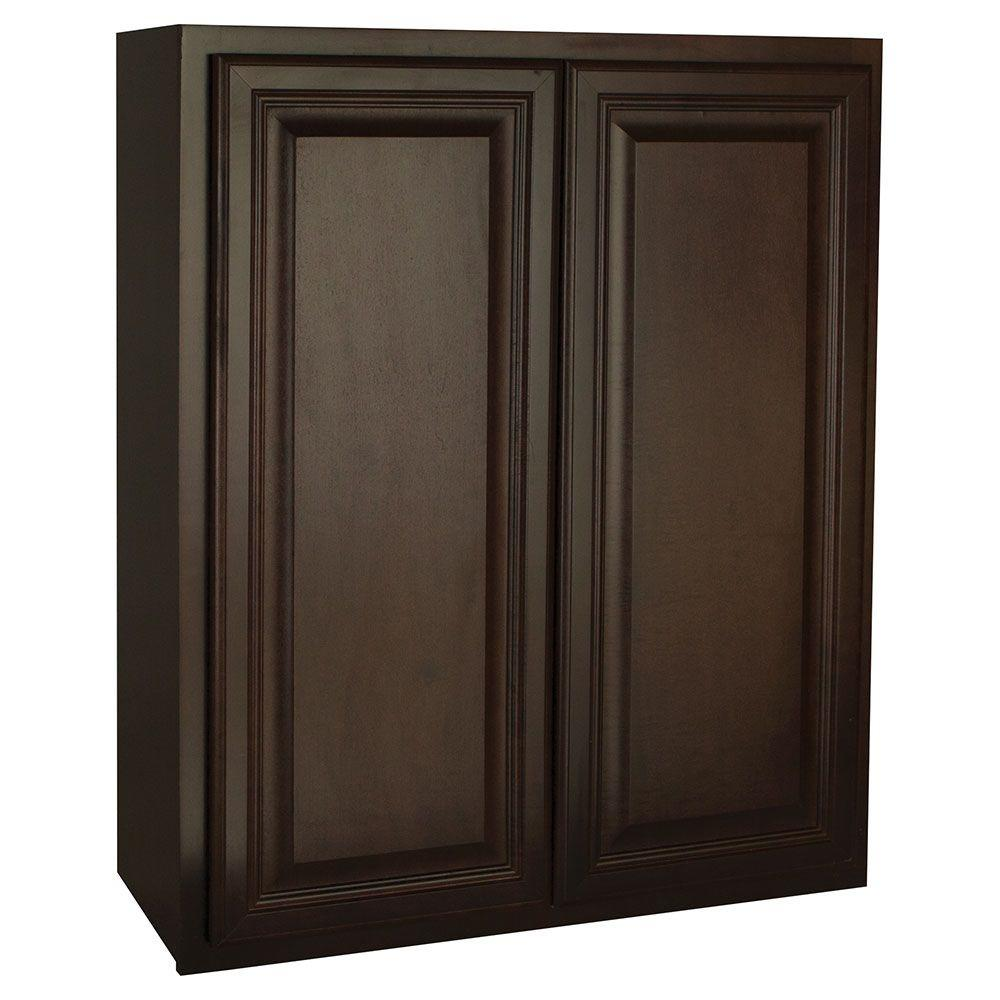 Hampton Bay Assembled 30x36x12 in. Cambria Wall Cabinet in Java-KW3036-CJM -
