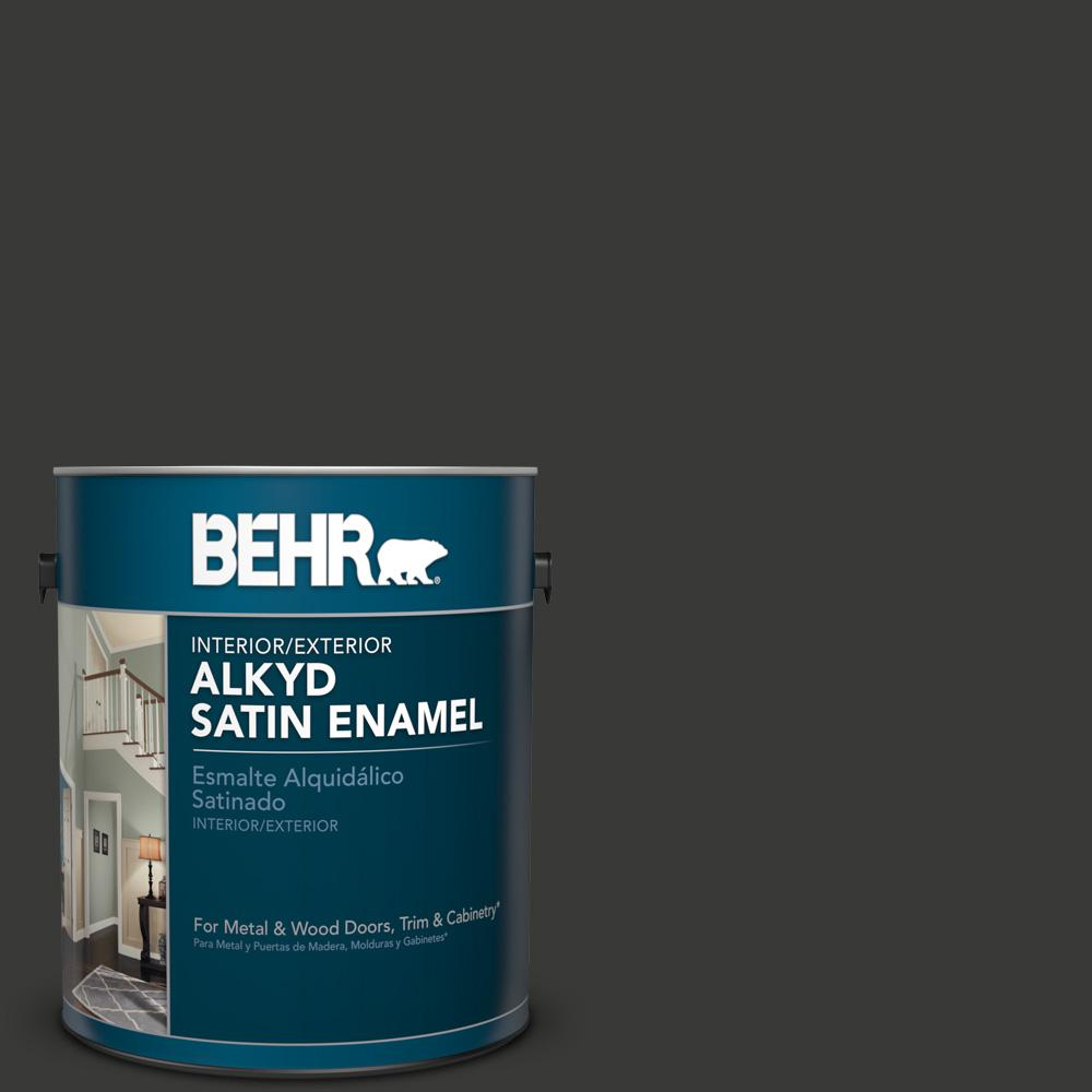 1 gal. #HDC-MD-04 Totally Black Satin Enamel Alkyd Interior/Exterior Paint