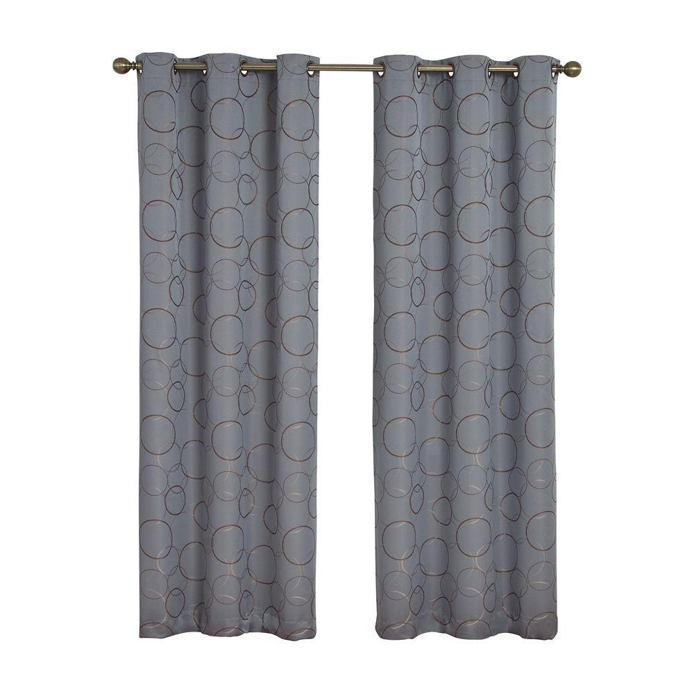 Eclipse Meridian Blackout River Blue Curtain Panel, 84 in.