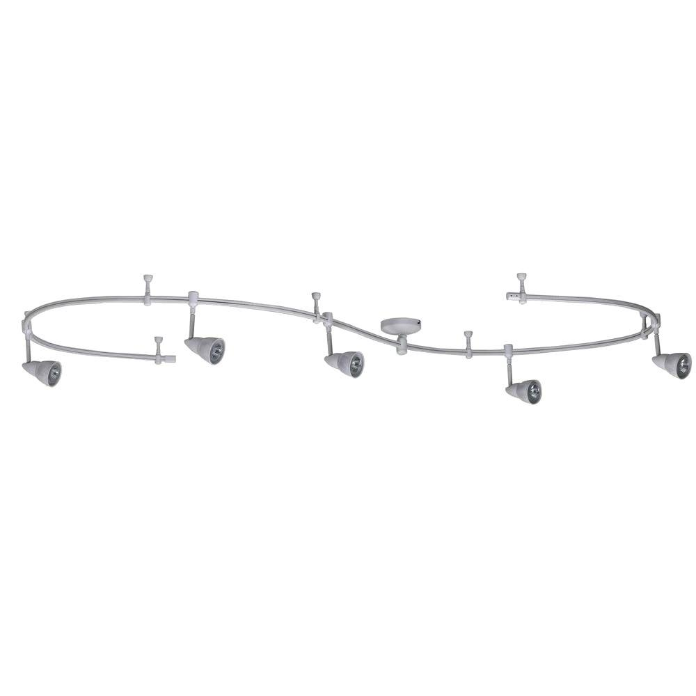 Line Voltage 5-Light 10 ft. White Flexible Track Kit with Mesh Shade Fixtures-DISCONTINUED