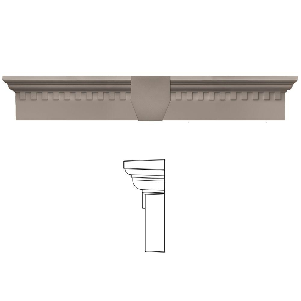 Builders Edge 6 in. x 33 5/8 in. Classic Dentil Window Header with Keystone in 008 Clay, Tan