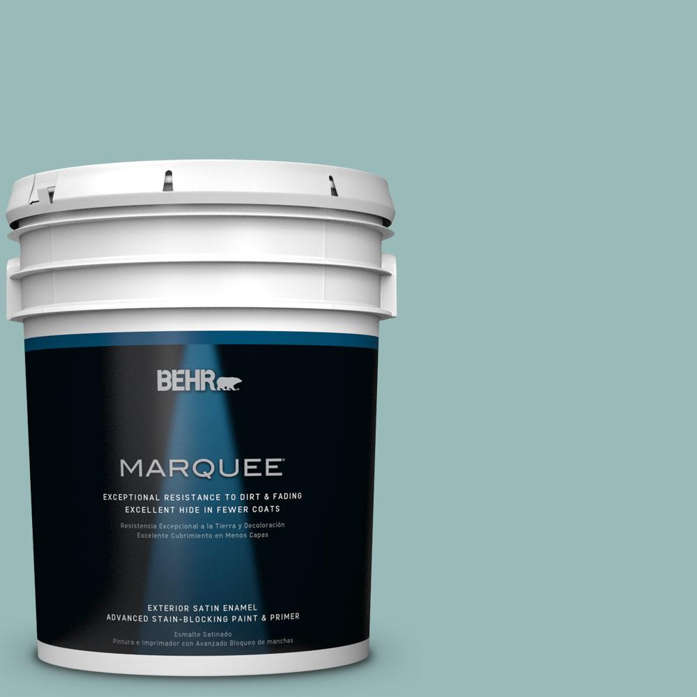 BEHR MARQUEE 5-gal. #PPU12-6 Lap Pool Blue Satin Enamel Exterior Paint-945405