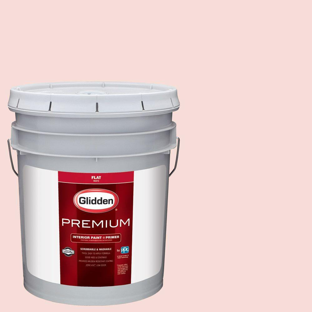 Glidden Premium 5 gal. #HDGR55U Pink Mimosa Flat Interior Paint with