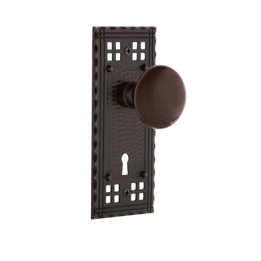 Craftsman Plate with Keyhole 2-3/8 in. Backset Timeless Bronze Privacy Brown