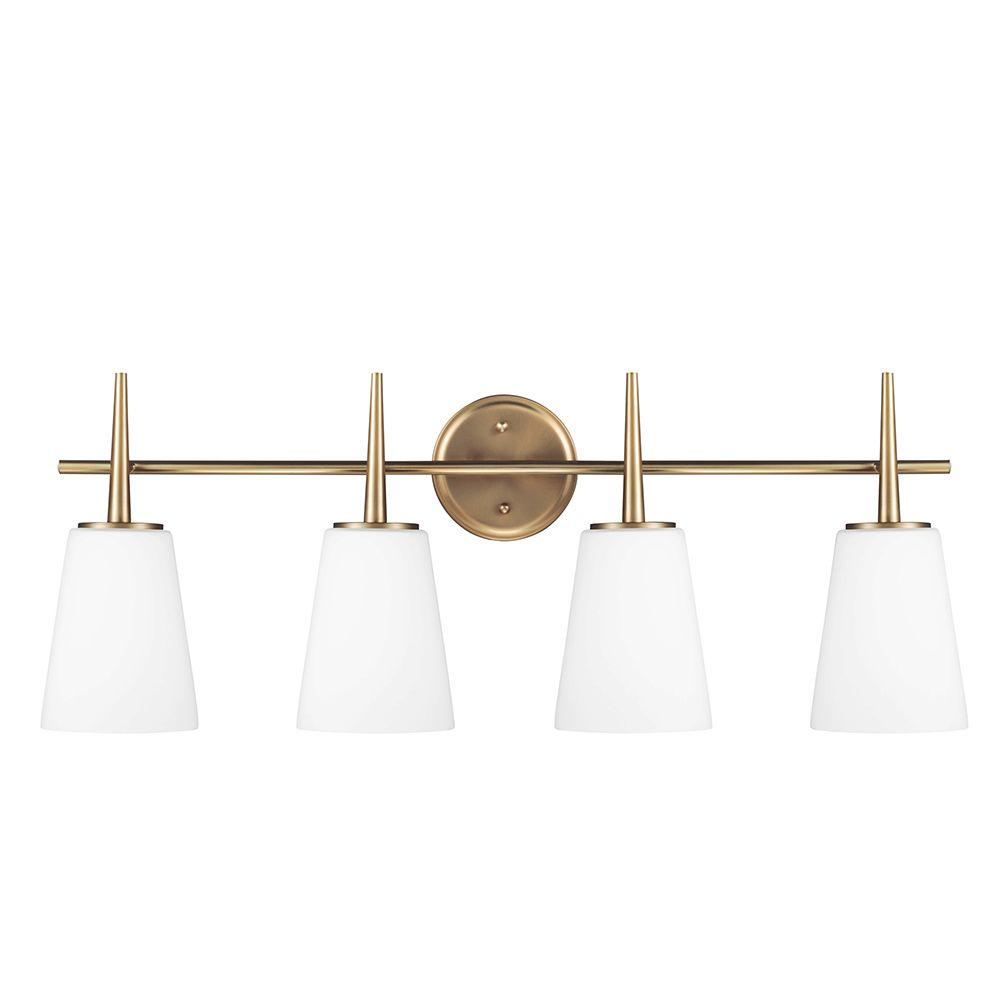 Sea Gull Lighting Driscoll 4-Light Satin Bronze Wall/Bath Vanity Light with Inside White Painted Etched Glass