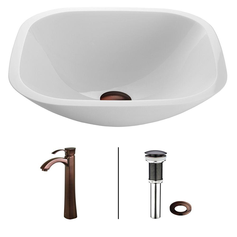 Square Shaped Phoenix Stone Glass Vessel Sink in White with Faucet