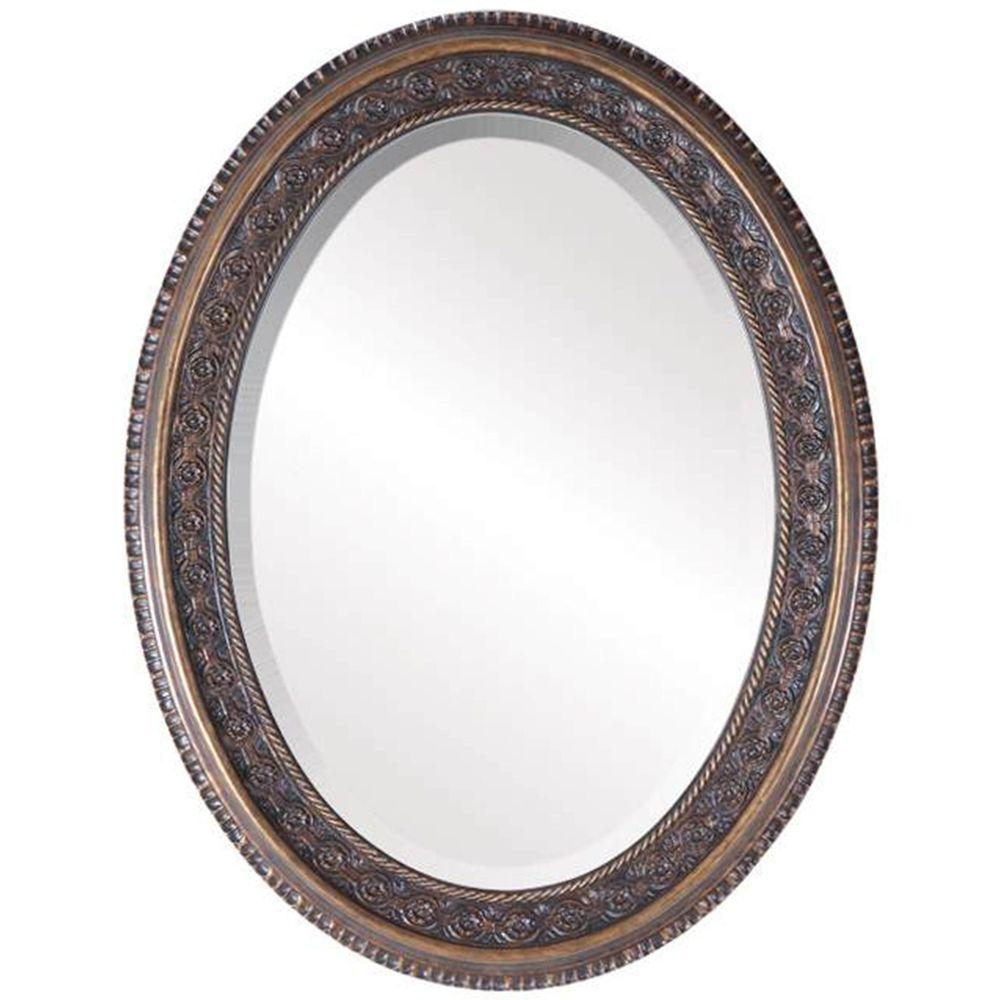 null Southern Collection Pecan 26 in. x 33 in. Glazed Oval Framed Wall Mirror-DISCONTINUED