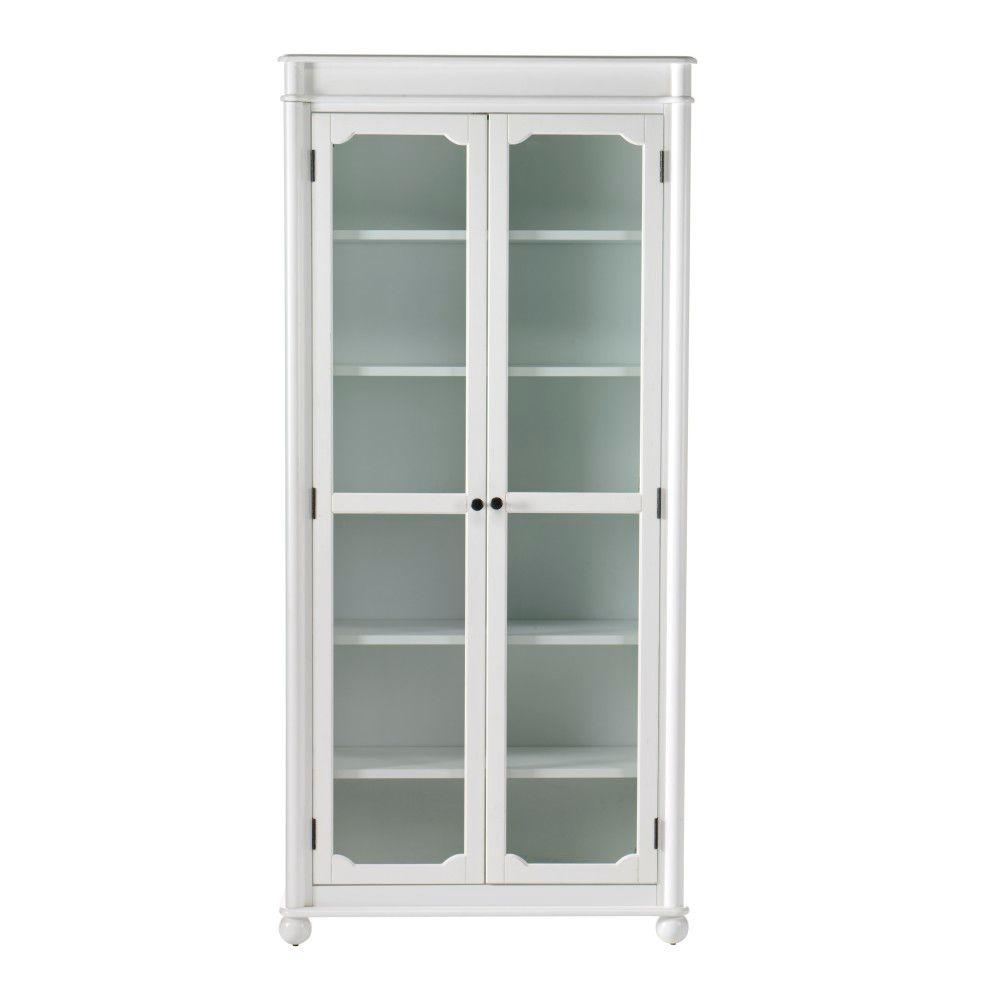 Home Decorators Collection Essex 68.5 in. H Suffolk Aged Cream 6-Shelf Bookcase with Glass Doors-DISCONTINUED