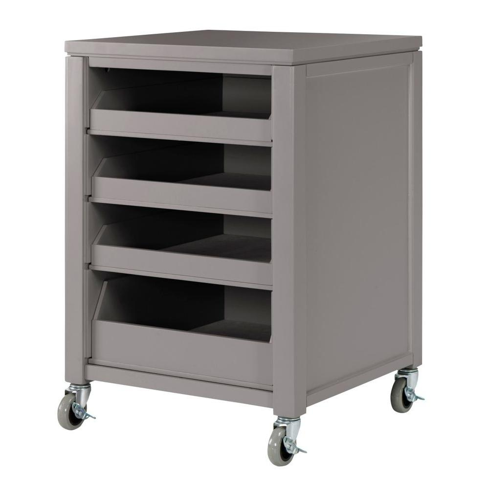 Martha Stewart Living 31 in. H Cement Grey Space Cart with 4-Pull Out Trays
