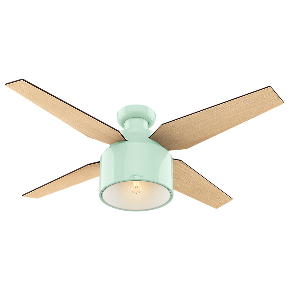 Hunter cranbrook 52 in led low profile indoor mint ceiling fan 59260 the home depot - Sme information about best cieling fan ...