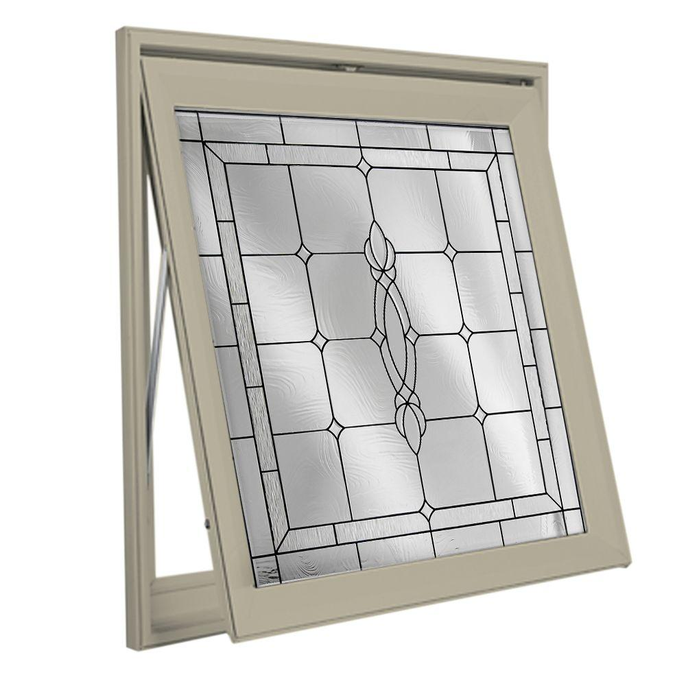 28.5 in. x 28.5 in. Decorative Glass Awning Vinyl Window -