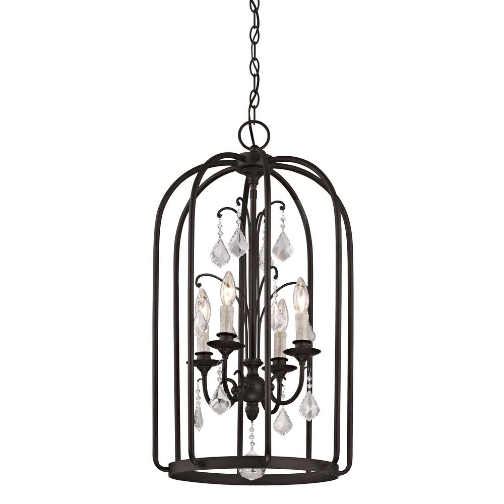 Aspen 4-Light Aged Bronze Cage Pendant with K9 Crystal Accent