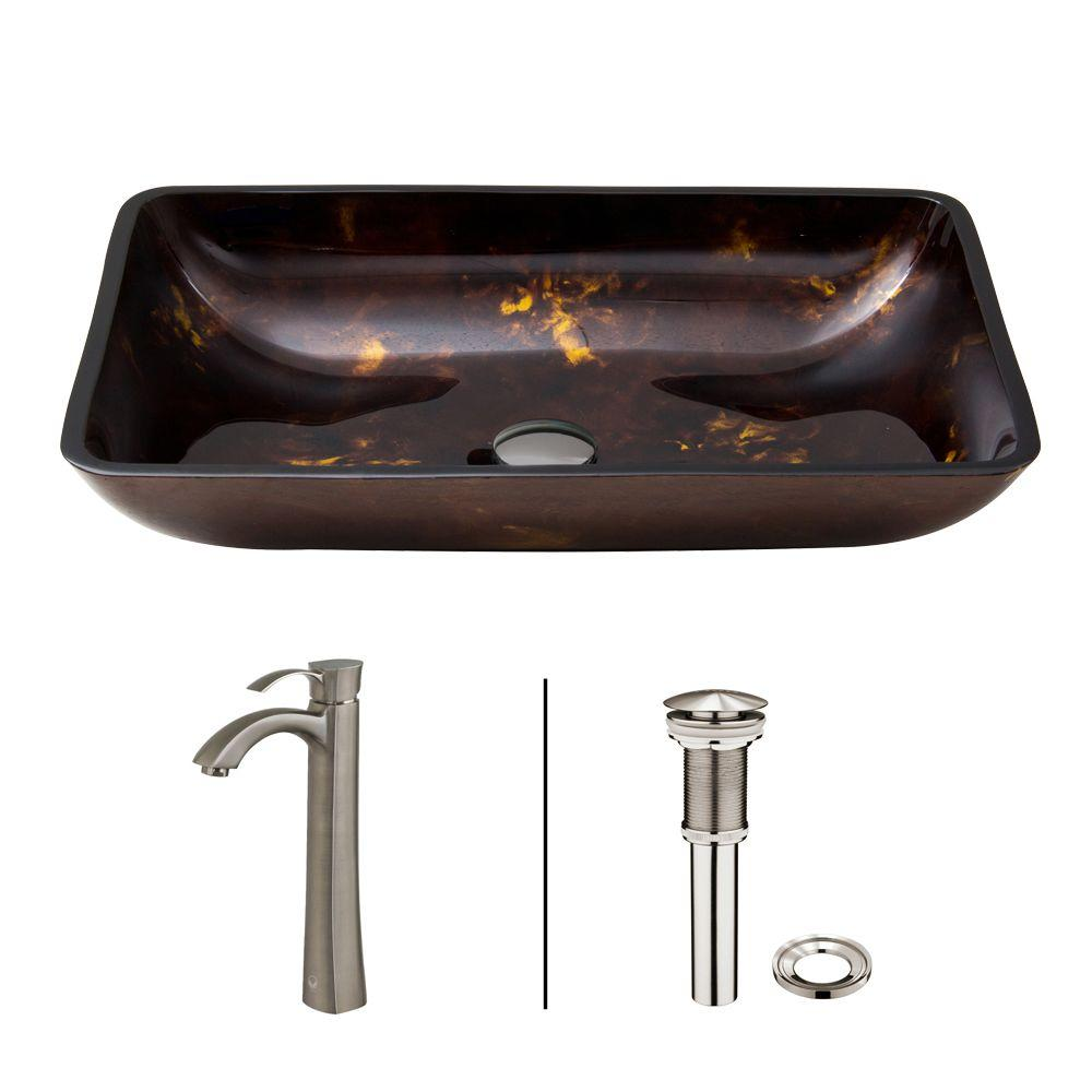 Rectangular Glass Vessel Sink in Brown and Gold Fusion with Otis