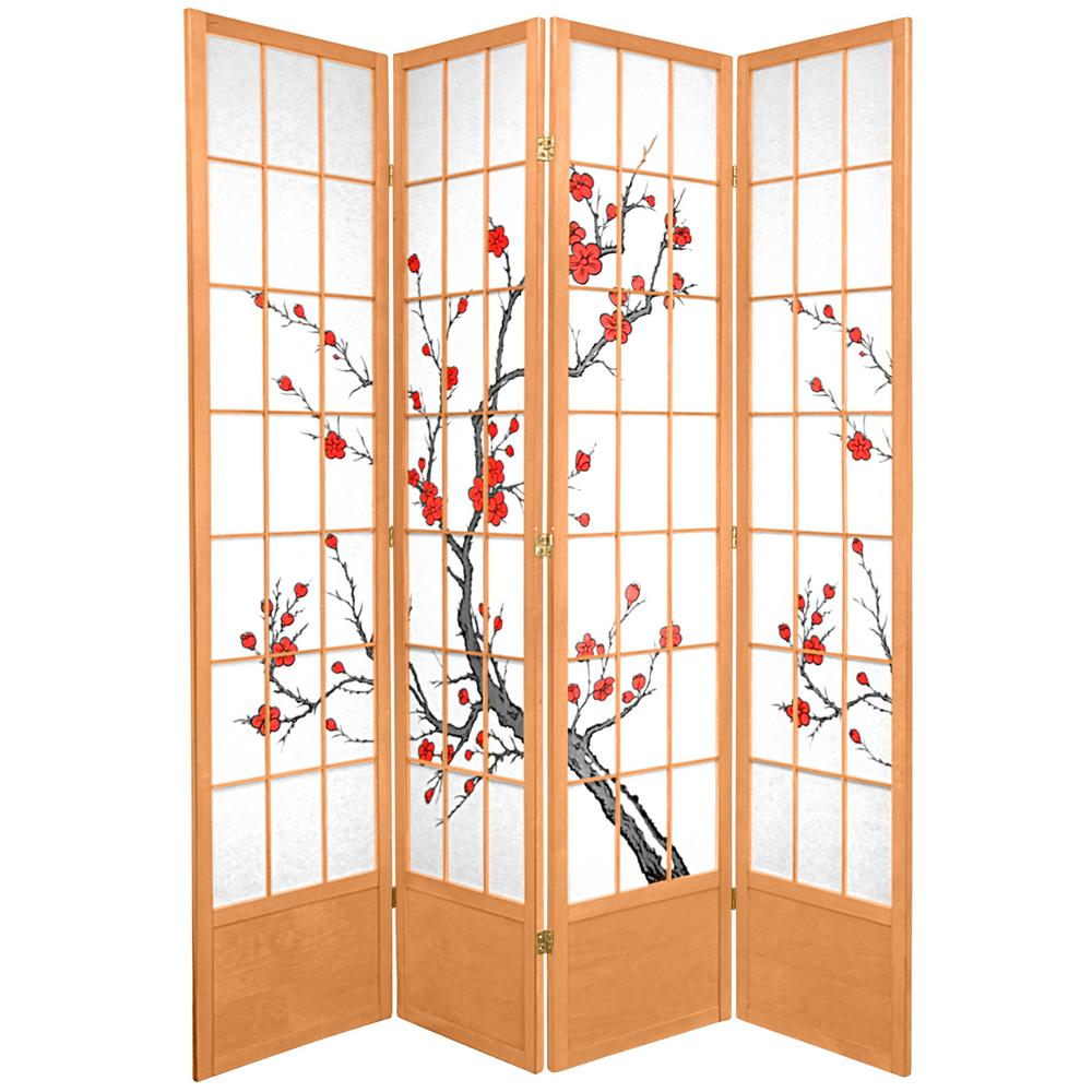 Oriental Furniture 7 ft. x 6 ft. 4-Panel Natural Cherry Blossom