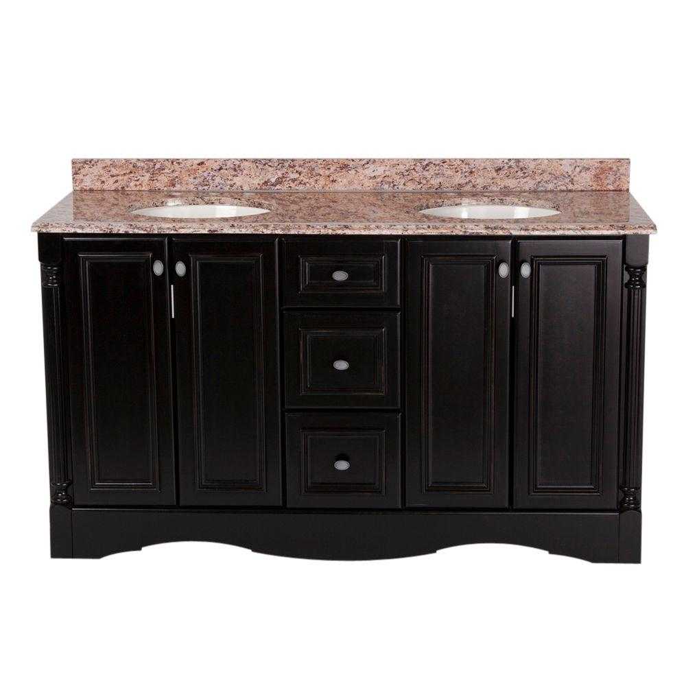 Valencia 60 in. Vanity in Antique Black with Stone Effects Vanity