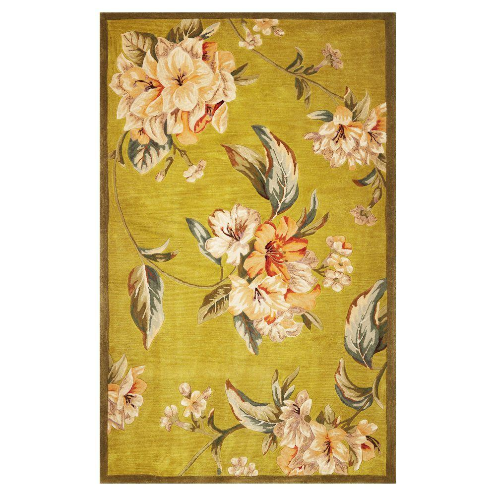 Kas Rugs Floral Perfection Pistachio 8 ft. 6 in. x 11 ft. 6 in. Area Rug