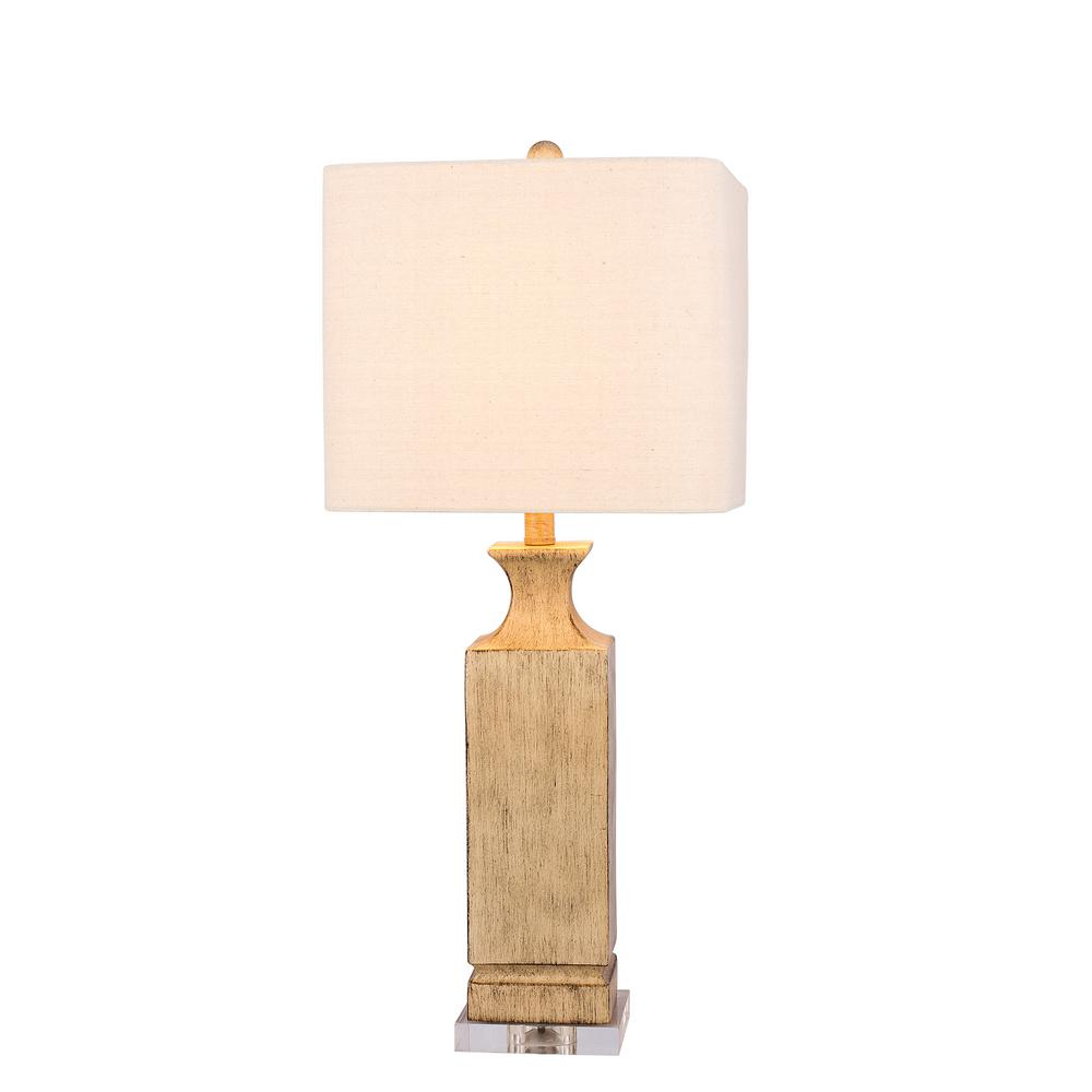 30 in. Beige Resin Column Table Lamp with Clear Acrylic Base