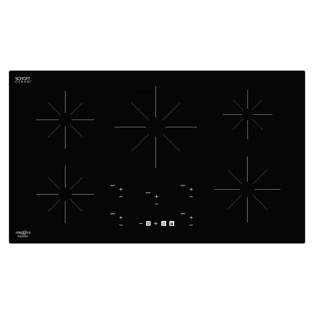 Chef 36 in. Glass-Ceramic Induction Cooktop in Black with 5 Elements
