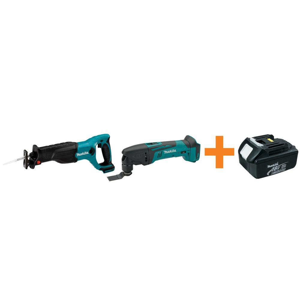 Makita 18-Volt LXT Lithium-Ion Cordless Reciprocating Saw and Multi-Tool with Free Battery