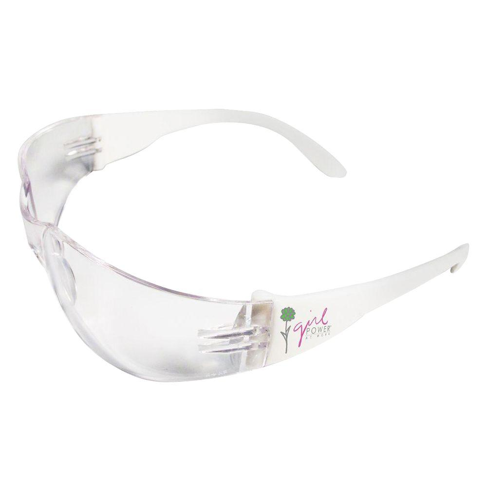 Lucy Ladies Eye Protection, White Frame with Girl Power Logo/Clear Anti-Fog